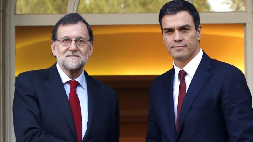 El presidente del Gobierno español, Mariano Rajoy (izq.), y el secretario general del PSOE, Pedro Sánchez.
