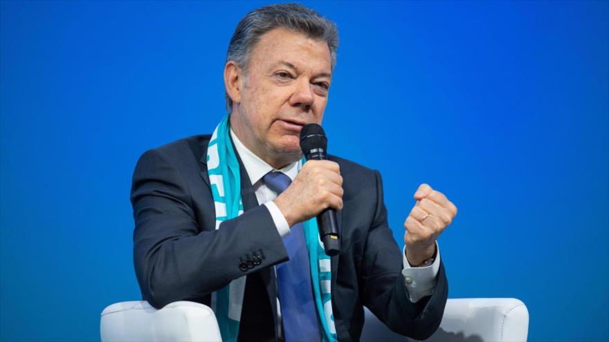 El presidente de Colombia, Juan Manuel Santos, durante una reunión en Alemania, 10 de mayo de 2018.