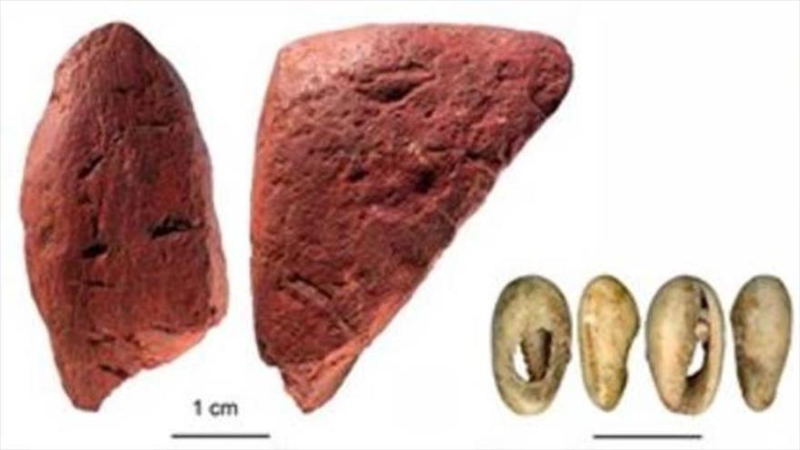 Algunos de los restos hallados en Panga ya Saidi, Kenia.
