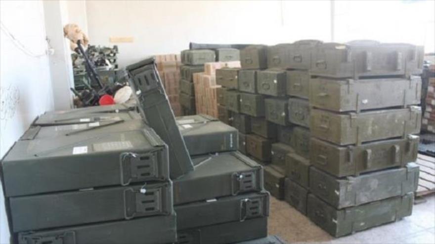 Almacén de municiones de las llamadas fuerzas moderadas sirias recibidas de Estados Unidos.