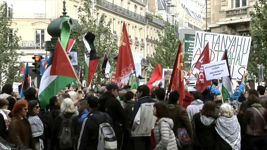 Manifestaciones en Francia contra masacre israelí en Palestina