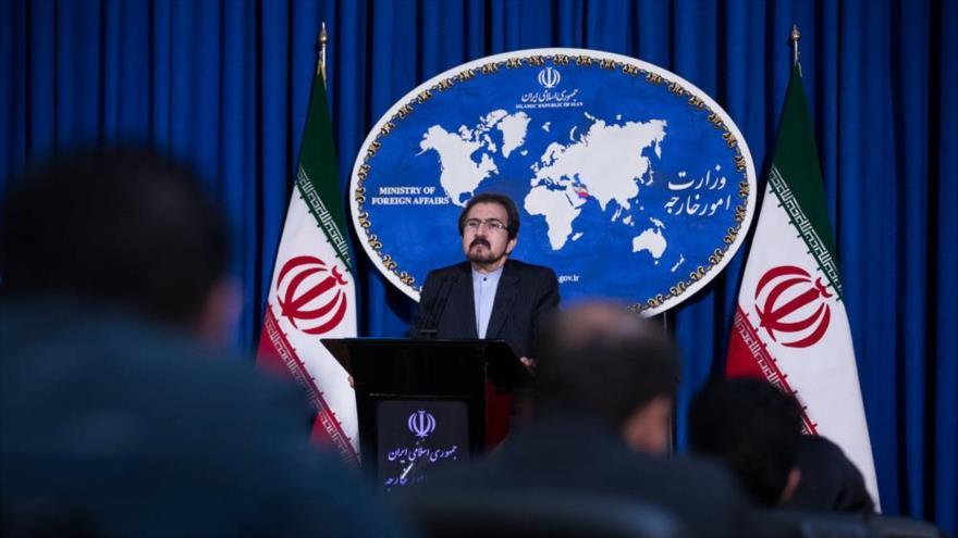 El portavoz de la Cancillería de Irán, Bahram Qasemi, ofrece una rueda de prensa en Teherán, la capital persa.