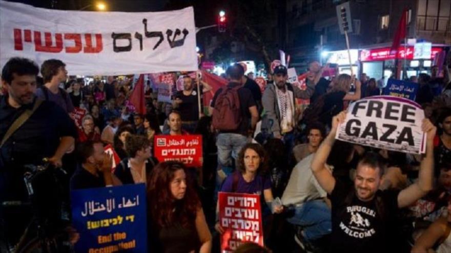 Vídeo: Cientos de israelíes protestan en Tel Aviv por masacre en Gaza