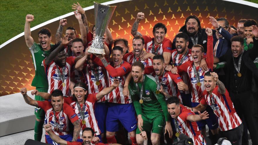 Jugadores del Atlético de Madrid celebran el título de la Euro League, 16 de mayo de 2018.