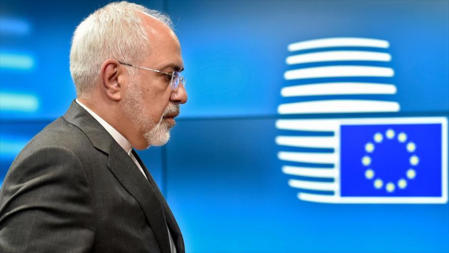 El canciller de Irán, Mohamad Yavad Zarif, en Bruselas, capital belga, 15 de mayo de 2018.