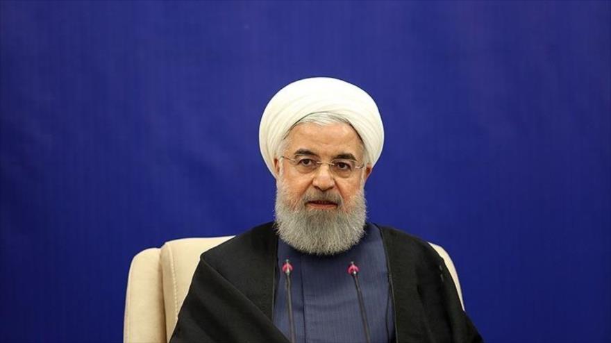 El presidente de Irán, Hasan Rohani, en un acto en la provincia oriental de Jorasan Razavi, 7 de mayo de 2018.