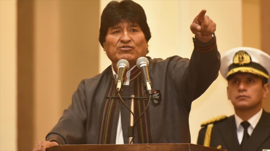 El presidente de Bolivia, Evo Morales, durante un acto con motivo del Día Nacional del Trabajador, 18 de mayo de 2018.