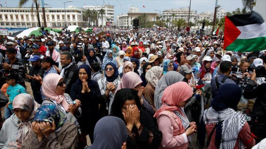 "Miles de marroquíes gritan ""¡Muerte a Israel!"" en protesta propalestina"