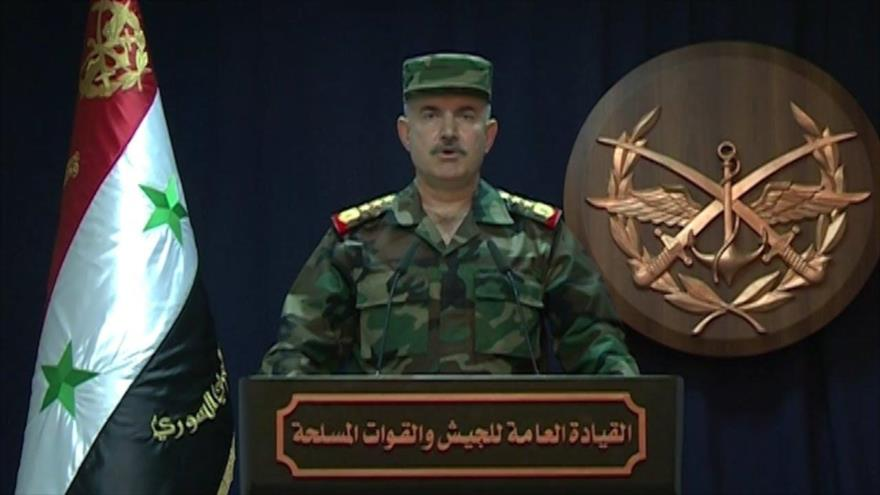 El portavoz del Ejército de Siria, el general de brigada Ali Maihub.
