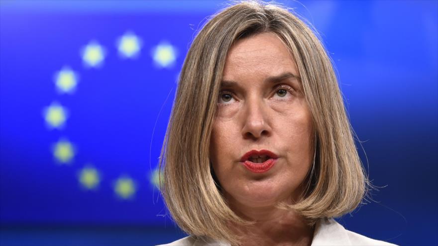 La jefa de la Política Exterior de la Unión Europea (UE), Federica Mogherini, durante una rueda de prensa en Bruselas, 15 de mayo de 2018.