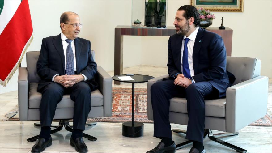 El presidente y el primer ministro de EL Líbano, Michel Aoun (izq.) y Saad Hariri, respectivamente, 24 de mayo de 2018.