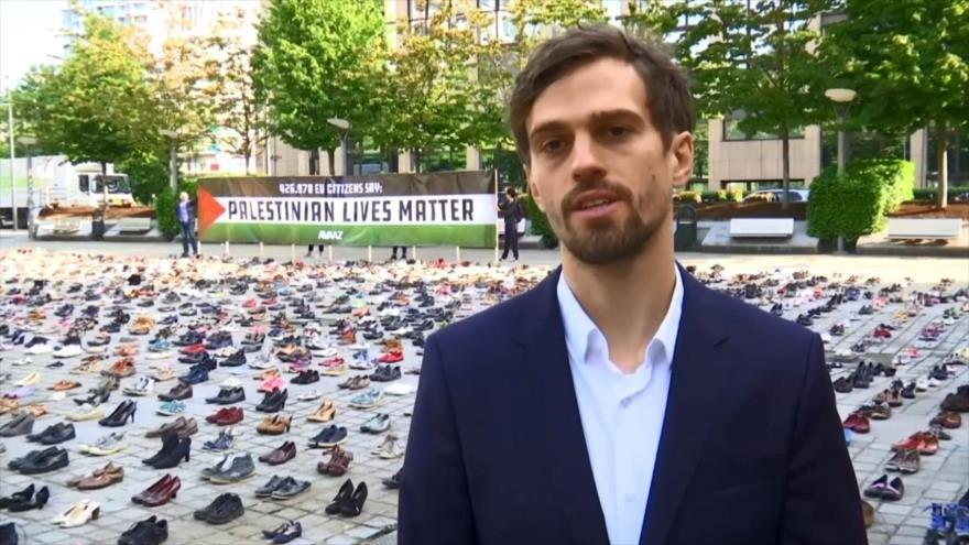 Miles de zapatos inundan Bruselas para recordar a palestinos muertos