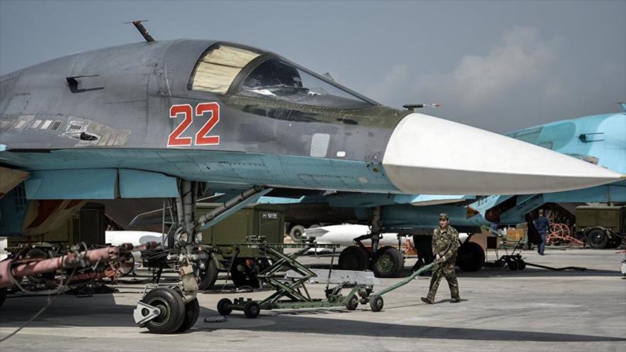 Cazabombarderos rusos Sujoi Su-34 desplegados en Siria.