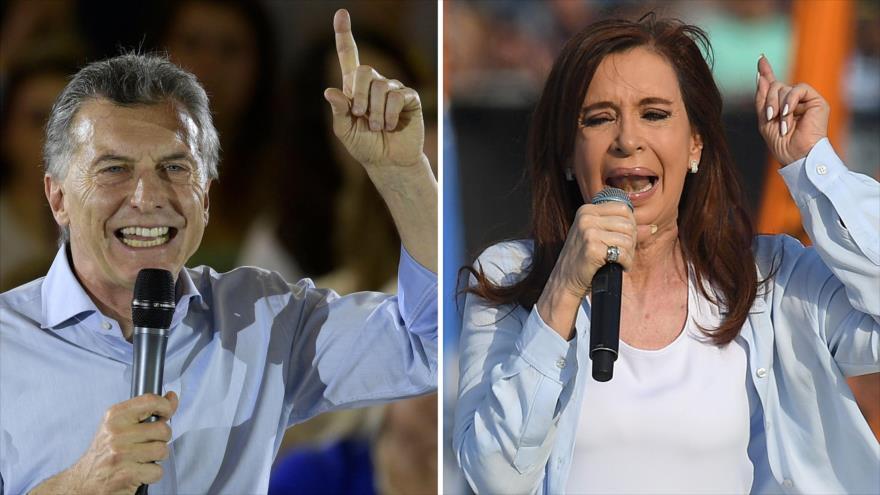 El presidente de Argentina, Mauricio Macri (izq.) y la exmandataria Cristina Fernández de Kirchner.