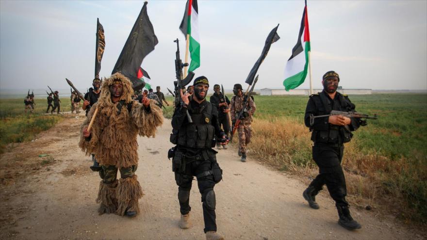 Miembros de la rama armada del movimiento de la Yihad Islámica Palestina en Gaza.