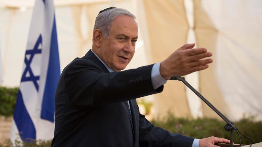 El primer ministro de Israel, Benjamín Netanyahu, habla en una ceremonia en Tel Aviv, 30 de mayo de 2018.