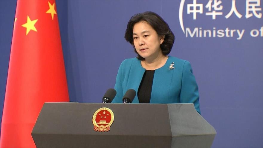 Hua Chunying, portavoz de la Cancillería china, en una rueda de prensa.