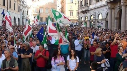 Partido Democrático protesta en Roma contra formación de Gobierno