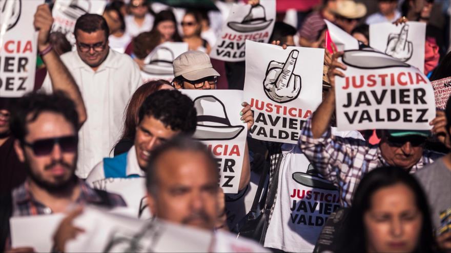 Una protesta en contra de la violencia en México, realizada en Culiacan (estado de Sinaloa), 15 de mayo de 2018.