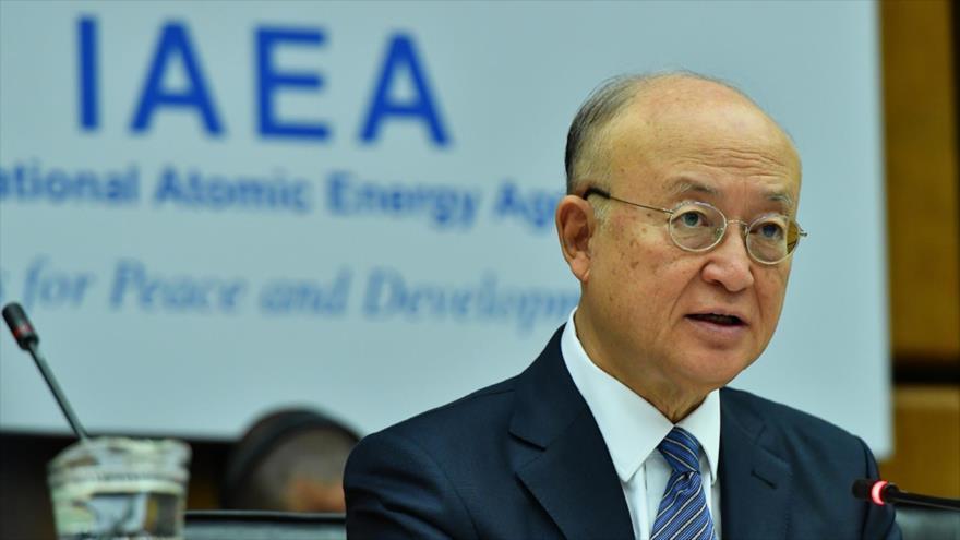 El director general de la Agencia Internacional de Energía Atómica (AIEA), Yukiya Amano, en una reunión de la Agencia en Viena, 4 de junio de 2018.