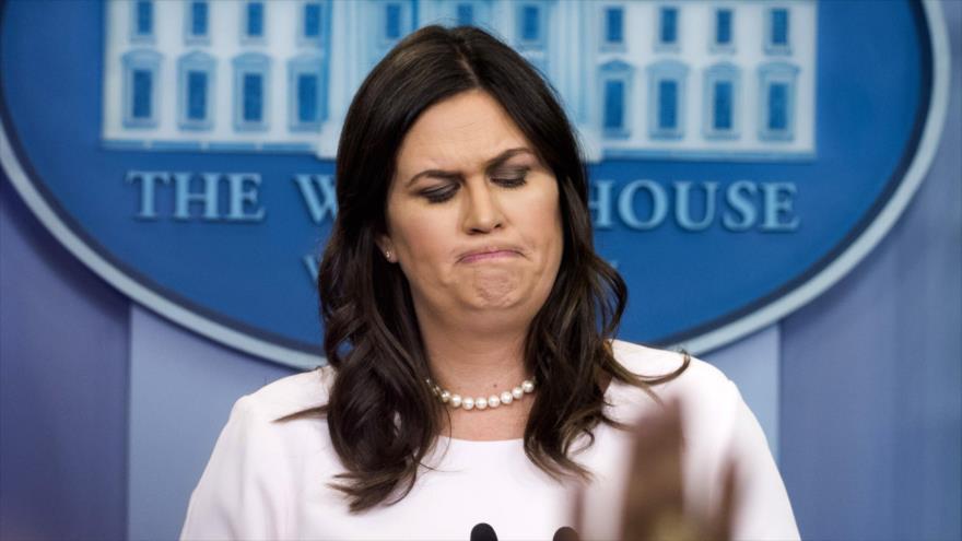 La portavoz de la Casa Blanca, Sarah Sanders, ofrece una rueda de prensa, Washington, 4 de junio de 2018.