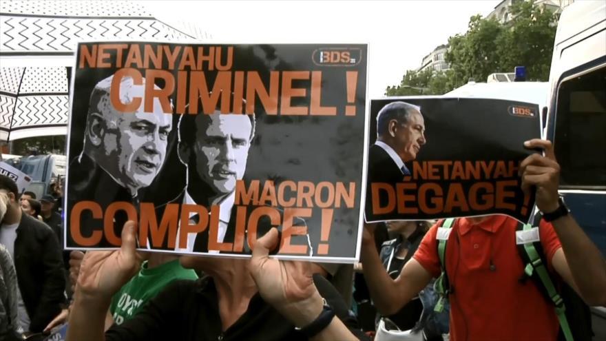 Reciben a Netanyahu en Francia con marchas y protestas
