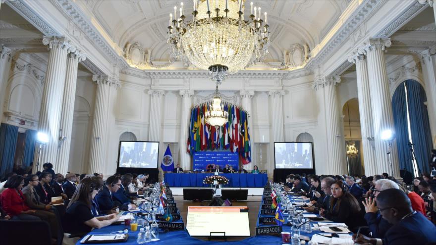 La 48. ª Asamblea General de la Organización de Estados Americanos (OEA), en Washington, capital estadounidense, 5 de junio de 2018.