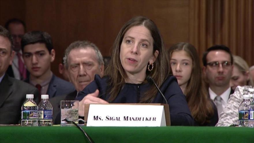 La subsecretaria para Terrorismo e Inteligencia Financiera del Departamento del Tesoro de EE.UU., Sigal Mandelker, 16 de mayo de 2017.