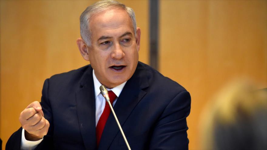 El primer ministro de Israel, Benjamín Netanyahu, habla durante una visita oficial en París, la capital francesa, 6 de junio de 2018.