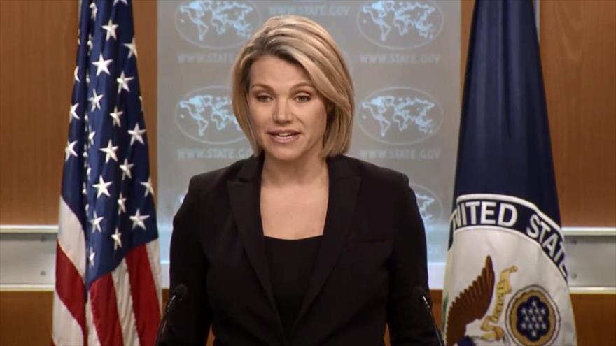 La portavoz del Departamento de Estado de EE.UU., Heather Nauert, en una rueda de prensa en Washington D.C., 6 de junio de 2018.