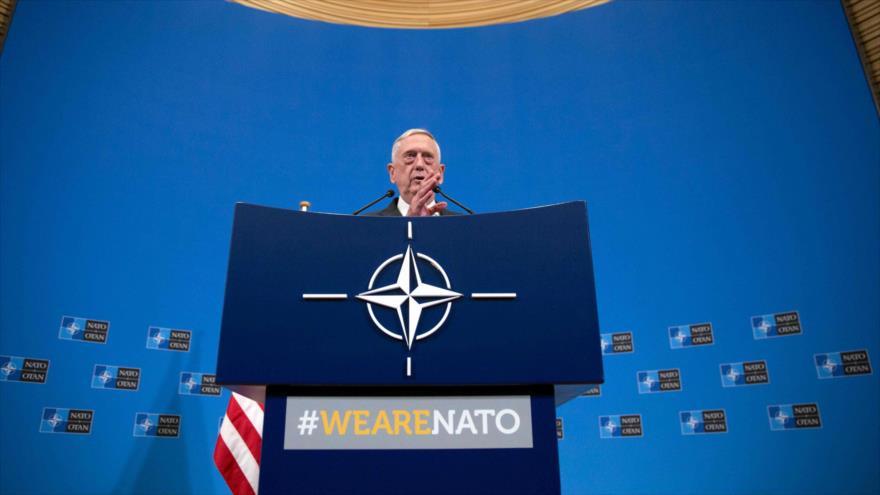 El jefe del Pentágono, James Mattis, en una rueda de prensa tras una reunión de OTAN en Bruselas (Bélgica), 8 de junio de 2018.