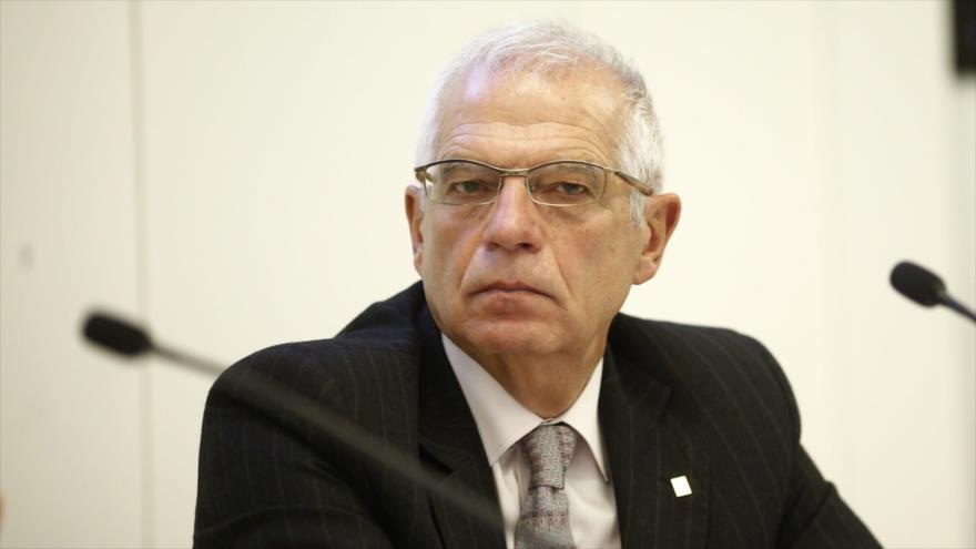 El ministro español de Asuntos Exteriores, Josep Borrell, en una rueda de prensa antes de acceder al cargo.