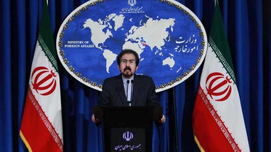 El portavoz de la Cancillería iraní, Bahram Qasemi, ofrece una conferencia de prensa en Teherán, 11 de junio de 2018.