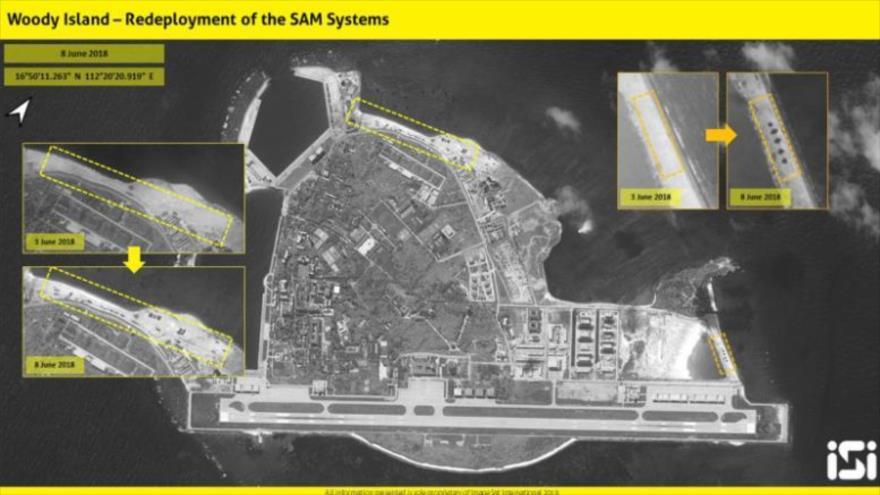 Imagen satelital tomada por ImageSat International muestra reubicación de sistemas de misiles de China en la isla Woody.