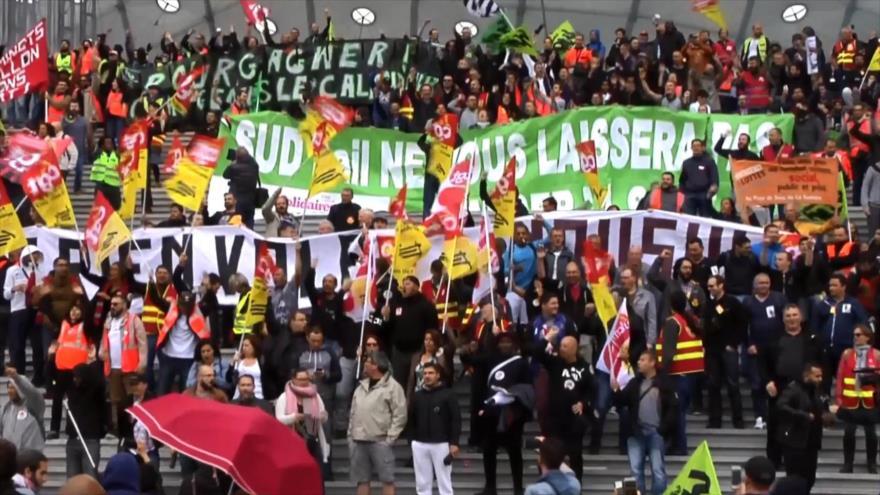 Ferroviarios franceses salen de nuevo a las calles