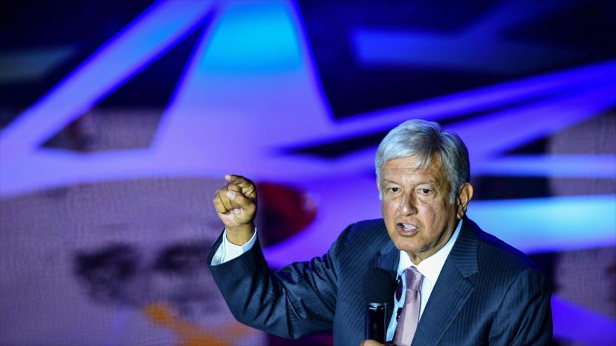 Andrés Manuel López Obrador, candidato a la Presidencia de México, en un acto público en la Ciudad de México, 28 de mayo de 2018.