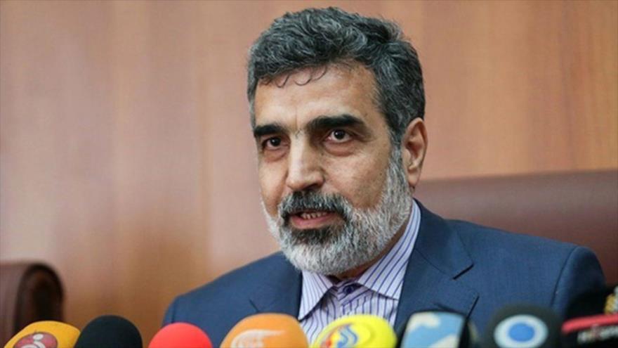 El portavoz de la Organización de Energía Atómica de Irán (OEAI), Behruz Kamalvandi, habla con la prensa.