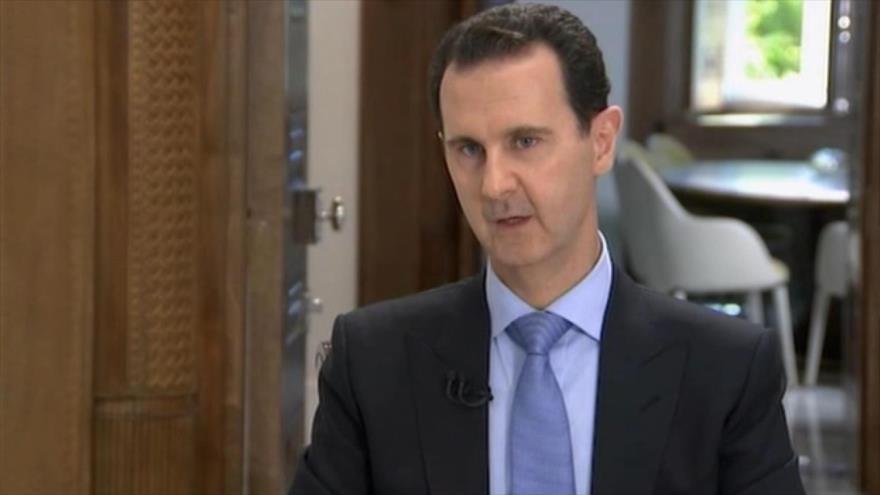 El presidente sirio, Bashar al-Asad, ofrece una entrevista a la cadena Al-Alam, 13 de junio de 2018.