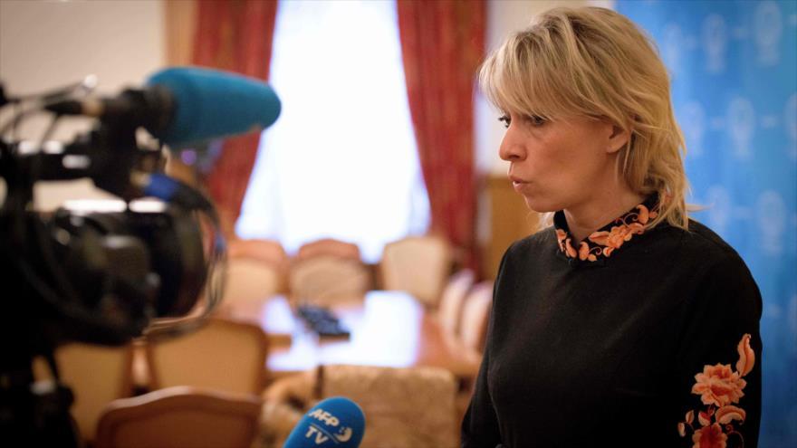 La portavoz de la Cancillería rusa, María Zajárova, en una entrevista en Moscú, 14 de marzo de 2018.