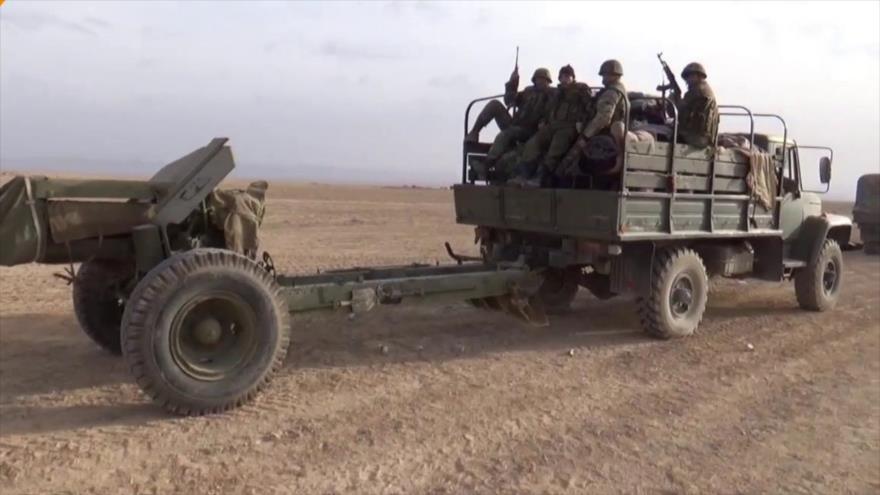 Soldados del Ejército sirio en una operación en el sudeste de la provincia de Homs.