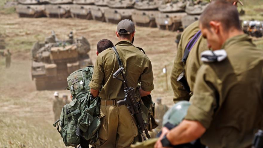 Fuerzas del ejército israelí en los ocupados altos del Golán, 1 de mayo de 2018.