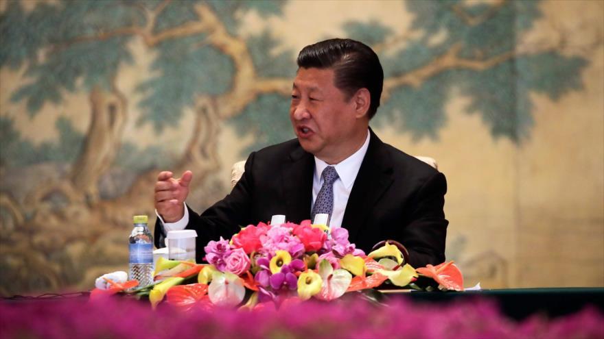 El presidente de China, Xi Jinping, durante un acto en Pekín, la capital, 21 de junio de 2018.