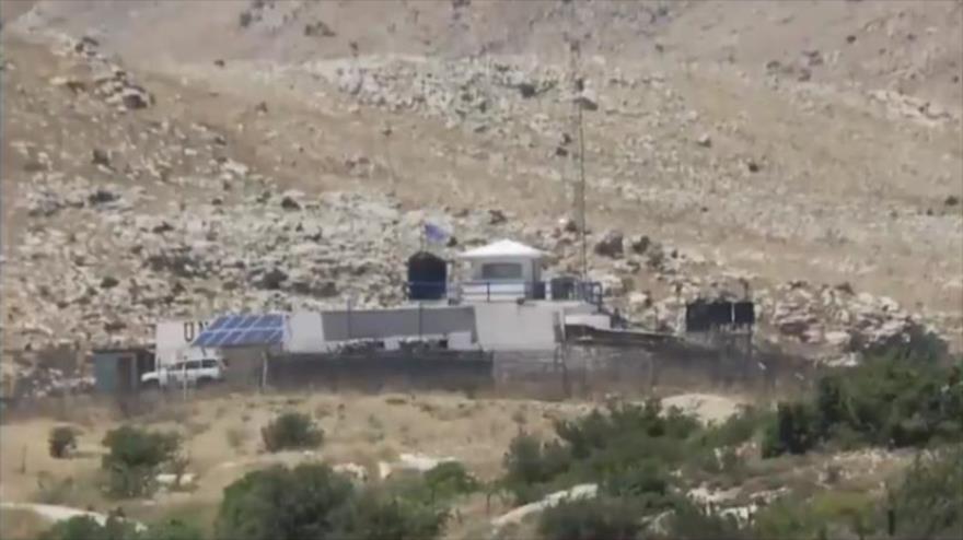 Un puesto abandonado de la ONU cerca de los ocupados altos del Golán.