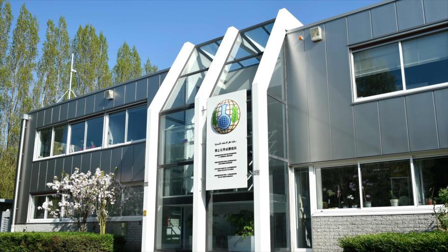 La sede de la Organización para la Prohibición de las Armas Químicas (OPAQ) en La Haya, Países Bajos.
