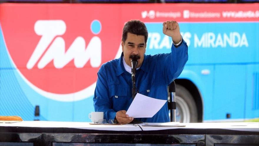 El presidente de Venezuela, Nicolás Maduro, durante un acto en Caracas, 19 de junio de 2018.