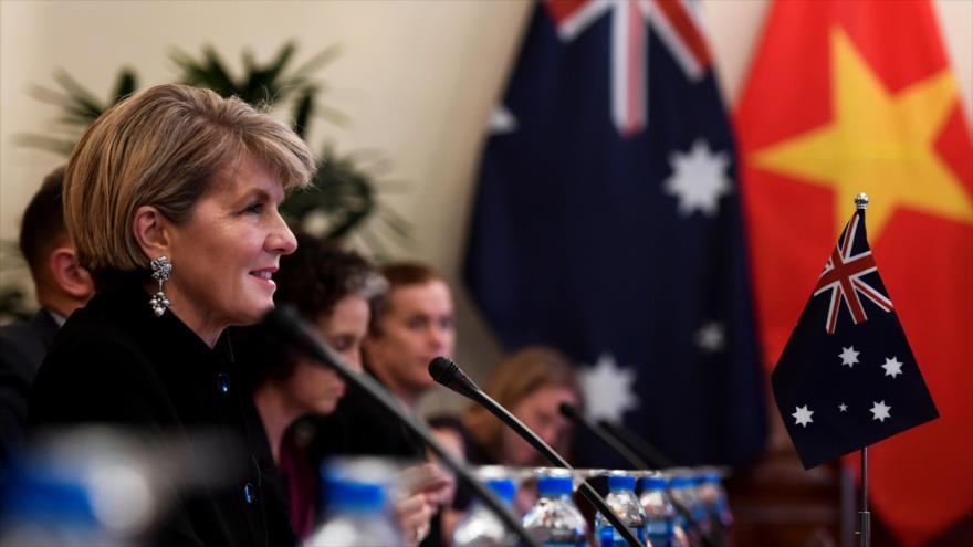 La ministra de Exteriores de Australia, Julie Bishop, habla en una reunión en Hanói, Vietnam, 28 de mayo de 2018.