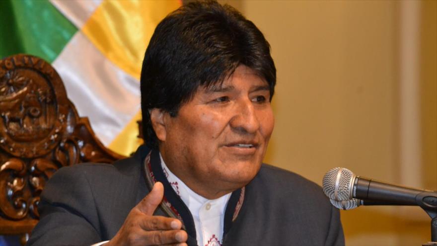 El presidente de Bolivia, Evo Morales, en una conferencia de prensa en el Palacio de Gobierno en La Paz, 2 de julio de 2018.