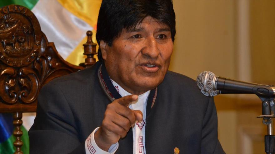 El presidente de Bolivia, Evo Morales, en una conferencia de prensa, La Paz, 2 de julio de 2018.