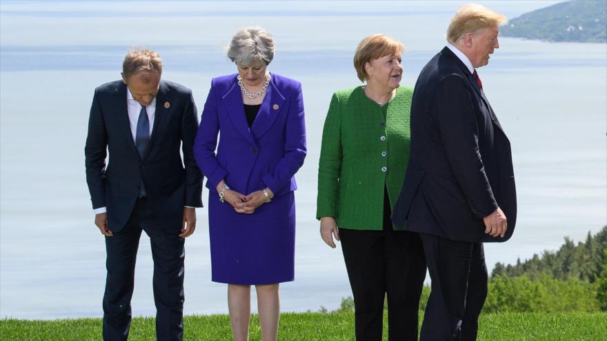 El presidente de EEUU, Donald Trump, durante la cumbre del Grupo de los Siete (G7), en Canadá, 8 de junio de 2018.
