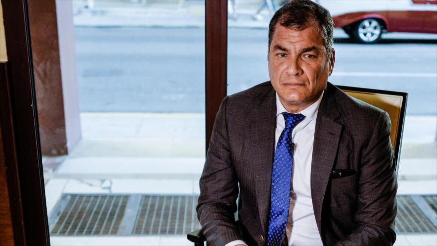 El expresidente ecuatoriano Rafael Correa, durante una entrevista en La Habana, capital cubana, 20 de abril de 2018.